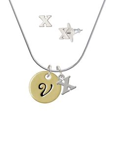 c9fb0ad4693 Goldtone Large Disc Letter - V - - X Initial Charm Necklace and Stud  Earrings Jewelry Set >>> Visit the image link more details.