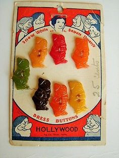 Vintage 1930's Bakelite Buttons-Snow White & Seven Dwarfs by Hollywood in Collectibles, Sewing (1930-Now), Buttons | eBay