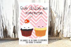 Lámina Cupcakes  Lámina divertida y romántica con dibujo de cupcakes