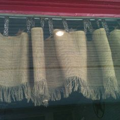 Burlap curtains - maybe for laundry room