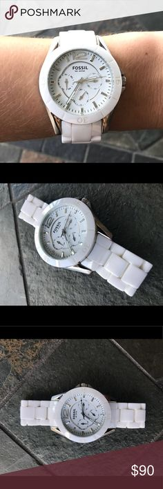 Fossil white ceramic watch White ceramic band and eye catching sophisticated dial that complements almost any outfit. Worn a couple of times.  Mint condition.    3 Multi-Function Sub Dials: 24 Hrs, Date And Day Of The Week Fossil Accessories Watches