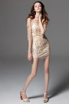 Morpheus Boutique  - Beige Jacquard 3/4 Sleeve Designer Dress, $99.99 (http://www.morpheusboutique.com/new-arrivals/beige-jacquard-3-4-sleeve-designer-dress/)
