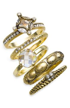 Ariella Collection Multi Stone Stackable Rings (Set of 5) | Nordstrom - StyleSays