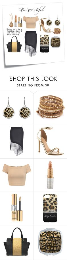 """Stunning Black & Gold With Leopard Print"" by colormegirly ❤ liked on Polyvore featuring Post-It, Chan Luu, ALDO, Alice + Olivia, Mariah Carey, Yves Saint Laurent, BillyTheTree, gold, metallic and handbags"