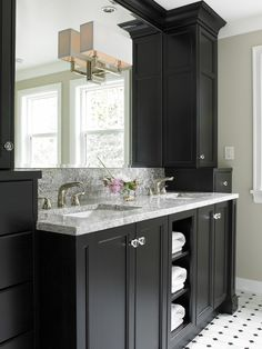 I like the vanity storage up to the ceiling idea.......    Bathroom Design, Pictures, Remodel, Decor and Ideas - page 9