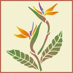 Bird of Paradise Flower Stencil, tropical theme Stencil Flor, Leaf Stencil, Stencil Painting, Fabric Painting, Flower Stencils, Stencil Patterns, Stencil Designs, Painted Signs, Painted Rocks
