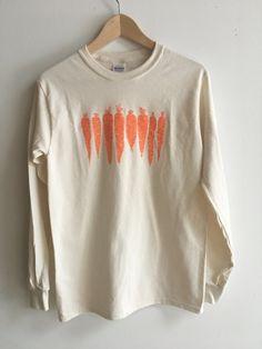 Carrot Shirt, Fruit Shirt, Food Shirt, Screen Printed T Shirt, Long Sleeve shirt