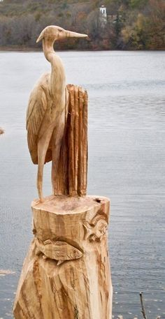 LOVE THIS!!Blue Heron with fish Carving by CustomWoodCarvings on Etsy, $950.00