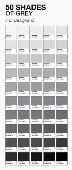 50 shades of grey (for designers) by pantone Funny Grey paint gray color and grey - Gray Things Grey Colour Chart, Colour Schemes, Gray Color, Color Charts, Pantone Color Chart, Colour Wheel, Pantone Colours, Grey Paint Colors, Gray Paint