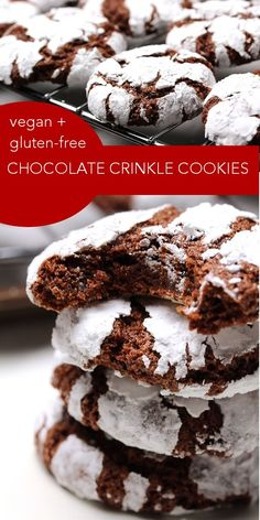 You'll never know that these vegan gluten-free Crinkle Cookies aren't a classic recipe! They're chewy on the inside and pack a tun of chocolate flavour! Click to make them now, or pin for later!