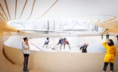 BIG architects: ice hockey rink in umea Ice Hockey Rink, Ice Rink, Umea, Big Architects, Skating Rink, Landscape Architecture, Skiing, Evening Gowns, Interior Design