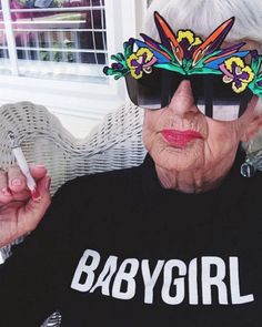 "Baddie Winkle is cooler than you. She also happens to be 87. Helen Van Winkle is a raver style icon with over 1.1 Million instagram followers. Baddie Winkle spruiks tye-dye and weed motif clothes. She also knows exactly what she wants ""I don't like 'old women' clothes. I never wore them in my life. But I would also never be caught dead in pasties or short-shorts that show half of your butt. I've had pictures made like that, but I just did it for the fun of it."""