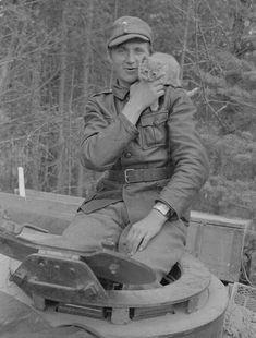 Finnish tank crew member with kitten  http://zveri-zveri.livejournal.com/