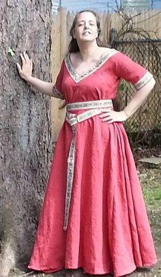Linen Short Sleeve Trimmed V-Neck Dress and Belt - Camelot Creations