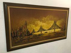 Mid Century Modern Abstract Bridge Cityscape by OffCenterModern