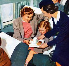 Vintage 1940s Airline Travel - Promotional American Airlines illustration 1949