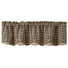 Featuring a double layer of fabric and button details providing a clean tailored look, the Berry Gingham Lined Scalloped Curtain Valance measure 58 x 15 from Pa Kitchen Curtains, Valance Curtains, Kitchen Ideas New House, Window Cornices, Forest Cabin, Home Repairs, Country Primitive, Country Decor, Window Treatments