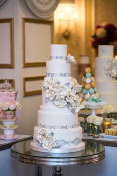 Amazing silver and white cake by Bobbette & Belle Artisanal Pastries   Krista Fox Photography