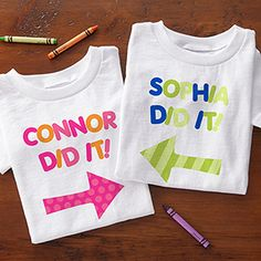 These personalized kids' clothes are adorable! It would be so cute to make one for each of the kids and cousins for a family photo! They come in baby bibs, onesie, youth T-shirts, and youth and toddler sweatshirts! #kids #familyphotoidea
