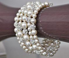 Chunky Bridal Bracelet, Ivory Pearl Bridal Cuff Bracelet, Bridal Jewelry. $120.00, via Etsy.