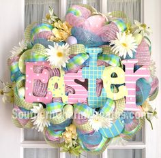 Image Detail for - Deco Mesh Easter sign wreath with eggs by Souther Charm Wreaths. Easter Wreaths, Holiday Wreaths, Holiday Crafts, Spring Wreaths, Easter Projects, Easter Crafts, Easter Ideas, Easter Decor, Wreath Crafts