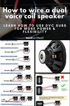 How To Wire A Dual Voice Coil Speaker + Subwoofer Wiring Diagrams Electronic Circuit Projects, Electrical Projects, Electronic Engineering, Electrical Wiring, Subwoofer Box Design, Speaker Box Design, Custom Subwoofer Box, Speaker Plans, Speaker System