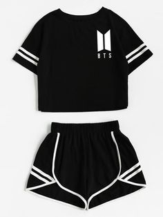 Xuanshow Tracksuit Women Cotton Shorts And Crop Top Set Round Neck Short Sleeve Stripe Black Bts Crop Top Und Shorts, T Shirt Crop Top, Crop Top Set, Outfits For Teens, Stylish Outfits, Fashion Outfits, Fashion Ideas, Dressy Outfits, School Outfits