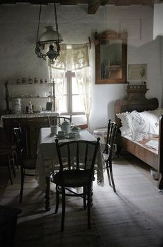 """magicalhome: """"A single, multi-use vintage room filled with antiques. Small Space Living, Small Spaces, Living Spaces, Cozy Cottage, Cottage Style, Rustic Cottage, Cottage Living, Vintage Room, Vintage Lace"""