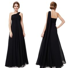 Ever Pretty One Shoulder Long Evening Bridesmaid Party Dress 09816 US Seller Evening Dresses With Sleeves, Evening Dresses Plus Size, Evening Dresses For Weddings, Satin Dresses, Sexy Dresses, Fashion Dresses, Black Bridesmaid Dresses, Bridesmaids, Evening Party Gowns