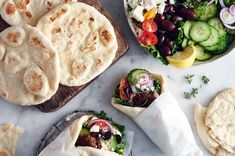 Quick and Easy Flatbreads | King Arthur Flour: With the help of a little baking powder, these yeasted flatbreads are ready to enjoy in just over an hour. Thicker and chewier than tortillas or pitas, they're a sturdy option for sandwich wraps. They're also perfect for dipping into olive oil, a soft spread, or sauce as an appetizer or accompaniment to a more elaborate meal. However you choose to enjoy them, know that you won't have to carve out hours of your day to devote to their preparation. Croissants, King Arthur Flour, Instant Yeast, Bread Rolls, Daily Bread, Perfect Food, Bread Baking, Cooking Recipes, Bread Recipes
