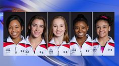 Rio 2016 u.s. Gymnastics team Simone Biles, Gabby Douglas, Laurie Hernandez, Madison Kocian and Aly Raisman
