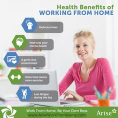 Besides helping you take back control of your work life, #WorkFromHome can benefit your health too. So say goodbye to all health woes and reduce stress!  #Tips #SmallBusiness #Infographic