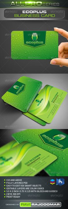 Ecoplus Business Card  #GraphicRiver          CS3 and above  Fully layered  CMYK mode 300 DPI   Easy to edit via smart objects  Editable layers are color coded  3.75×2.25 inch dimension including bleed  Print ready  Help guide Included    Fonts info included in the instruction file and they can be obtained for free.   Very easy to customize and change your own color of choice.   Thanks again for your support and If you have a moment, please rate this item, I'll appreciate…