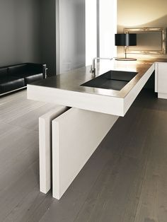 modern cantilevered kitchen island