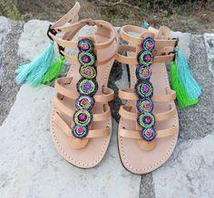 Gladiator Sandals Greek Leather Sandals Boho sandals Pom