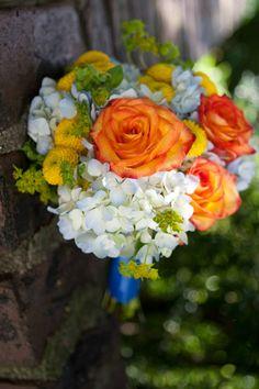 small bridal bouquet, hydrangea, roses, mums, blue, orange, yellow