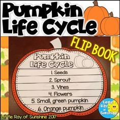 This Pumpkin Life Cycle Flip Book will be the perfect addition to your lessons about Pumpkins, Fall or Halloween. There are two versions: 1. Cut and paste pictures to correct page. 2. Pictures are already on pages, just color and assemble. For each versio
