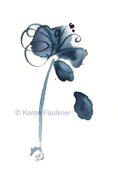 "Watercolor indigo blue abstract flower art print: ""The Blues Singer"""