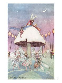 Inch Print (other products available) - Enchanting illustration showing fairies dancing in a ring underneath a toadstool while pixies, elves and sprites watch and hold lamps. <br> <br> - Image supplied by Mary Evans Prints Online - print made in the UK Fairy Dust, Fairy Land, Fairy Tales, Fantasy Kunst, Fantasy Art, Journal D'art, Arte Indie, Kobold, Vintage Fairies