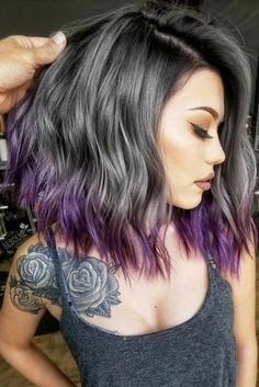 ❤️See what a deep and bright look you can get with purple highlights! Purple balayage, blue ombre, and many cool hair color ideas are here! Hair Color 2018 Soft Purple Ombre For Your Ends Hair Color 2017, Cool Hair Color, Unique Hair Color, Unique Hair Cuts, Hair Colour, Unique Hairstyles, Pretty Hairstyles, Easy Hairstyle, Hairstyles Haircuts