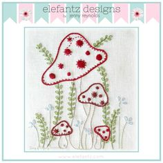 """Shrooms"" embroidery pattern. PDF download."