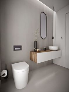 Best Powder Room Designs That You Can Have In Your Home - - A small washroom for guests is also called as a powder room and they should be clean and comfortable. Here are the powder room ideas for you to make your guests feel comfortable. Powder Room Paint, Powder Room Decor, Powder Room Design, Minimalist Bathroom Furniture, Modern Bathroom, Small Bathroom, Bad Inspiration, Bathroom Inspiration, Modern Powder Rooms