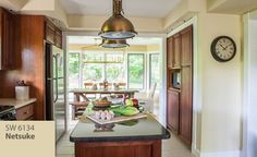 Image Of Dining Room Painted In Sherwin Williams Gratifying Green