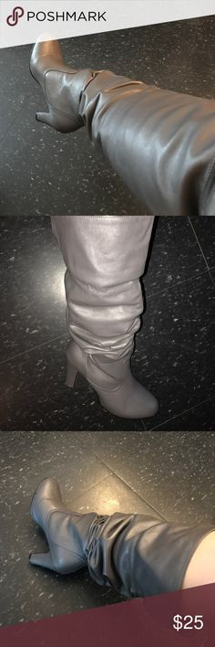 Heather Grey High Heel Leather Boots Heather Grey High Heel Leather (faux) Boots. Size 8. THE MOST COMFORTABLE BOOTS IVE EVER OWNED!!!!!!!! Can wear it High or Low. Worn a few times but in PERFECT CONDITION. 🛑I only ship boots. I do not ship with Shoe Box.🛑 Shoes Heeled Boots