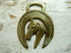 LUCKY Horseshoe Brass with Horse vintage brass horsebrass