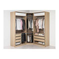 PAX Wardrobe, white stained oak effect, Tanem white 196/196x60x236 cm standard hinges
