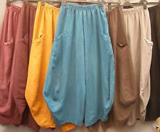 La Bass~Just in~ Linen ~MULBERRY~ Twisted Tulip Trousers  ~ Sizes 1XL 2XL 3XL
