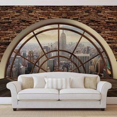 Looking for a New York loft apartment? Have it no matter where you live with a wall mural. Photo Wallpaper, Cool Wallpaper, New York City Skyline, New Yorker Loft, Urban Home Decor, Cool Walls, Wall Design, Wall Murals, Mural Art