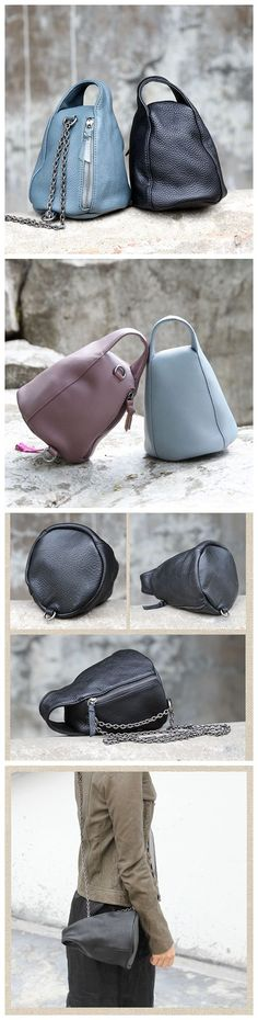 Women's Fashion Full Grain Leather Handbag Cosmetic Bag Messenger Bag Shoulder Bag AK12-Purple - Purple