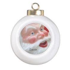 Shop Santa Claus vintage head Ceramic Ball Christmas Ornament created by alicing. Custom Christmas Ornaments, Baby First Christmas Ornament, Santa Ornaments, Babies First Christmas, Ball Ornaments, Christmas Themes, Christmas Diy, Holiday Decor, Xmas